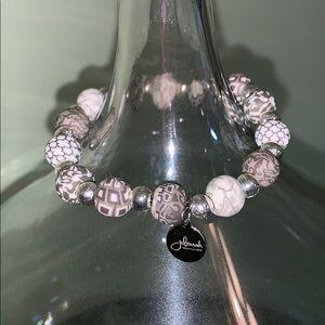 Jil Zarah porcelain clay bead bracelet grey